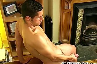 Handsome athletic Jack Masters interviewed while jerking off